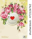 floral greeting card or... | Shutterstock .eps vector #472126762
