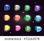 set of cartoon stone buttons...