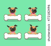 cartoon character pug dog with...   Shutterstock .eps vector #472182496