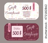 gift certificate with flower ... | Shutterstock .eps vector #472182862