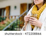 relaxed woman drinking hot... | Shutterstock . vector #472208866