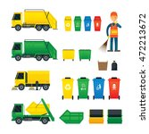 waste collection  truck  bin ... | Shutterstock .eps vector #472213672