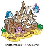 shipwreck at sea bottom  ... | Shutterstock .eps vector #47221390