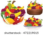 assorted fruit bowls. | Shutterstock .eps vector #472219015