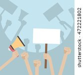 hands holding protest signs and ... | Shutterstock .eps vector #472221802