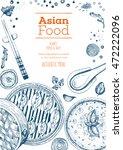 asian food frame. linear... | Shutterstock .eps vector #472222096