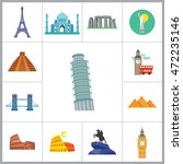 tourist attraction icons set | Shutterstock .eps vector #472235146