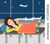 sleep girl at the airport on... | Shutterstock .eps vector #472255516