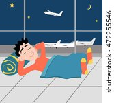 sleep guy at the airport on the ... | Shutterstock .eps vector #472255546