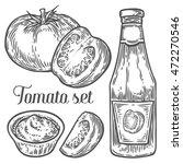 tomato slice  sauce  ketchup... | Shutterstock .eps vector #472270546
