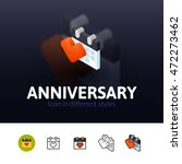 anniversary color icon  vector...