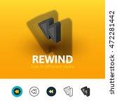 rewind color icon  vector...