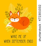 vector autumn card with cute... | Shutterstock .eps vector #472301032