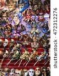 rows of venetian carnival masks   Shutterstock . vector #472312276