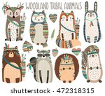 Stock vector woodland tribal animals volume cute vector illustration 472318315