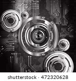 black silver eye abstract cyber ... | Shutterstock .eps vector #472320628