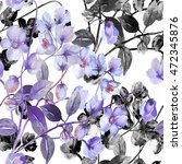 Seamless Watercolor Flowers Of...