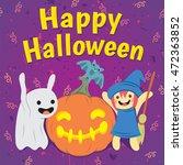 cute halloween characters... | Shutterstock .eps vector #472363852