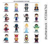 cartoon kid in superhero... | Shutterstock .eps vector #472366762