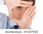 young manager focusing on his target - stock photo