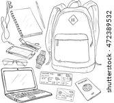 vector sketch travel set....   Shutterstock .eps vector #472389532