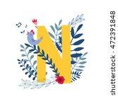 alphabet   letter n  in floral... | Shutterstock .eps vector #472391848