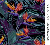tropical flowers  jungle leaves ... | Shutterstock .eps vector #472429156