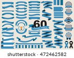 60 retro blue ribbons and... | Shutterstock .eps vector #472462582