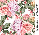 watercolor pattern with peony... | Shutterstock . vector #472464772
