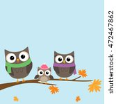 cartoon family of owls in... | Shutterstock .eps vector #472467862