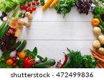 frame of fresh organic... | Shutterstock . vector #472499836