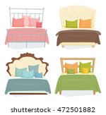 double beds and pillows set... | Shutterstock .eps vector #472501882
