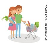 young woman and man shopping... | Shutterstock .eps vector #472518922