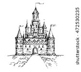 hand drawn castle  isolated on... | Shutterstock .eps vector #472530235