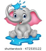 Stock vector cartoon funny elephant spraying water 472535122