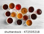 Cups Of Tea On Table  Top View