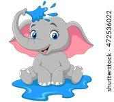 cartoon baby elephant spraying... | Shutterstock . vector #472536022