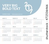 calendar 2017 vector template... | Shutterstock .eps vector #472536466