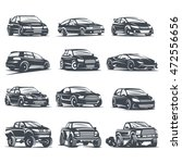set sport car monochrome labels ...