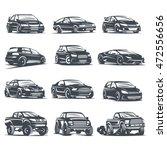 set sport car monochrome labels ... | Shutterstock .eps vector #472556656