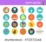 happy easter concept flat icons.