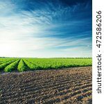 sunset over agricultural field...   Shutterstock . vector #472586206