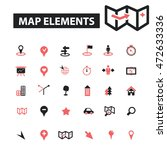 map elements icons | Shutterstock .eps vector #472633336