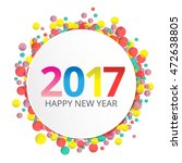 happy new year 2017 label on... | Shutterstock .eps vector #472638805