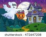 halloween ghost near haunted... | Shutterstock .eps vector #472647208