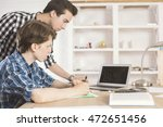 one young man explaing... | Shutterstock . vector #472651456