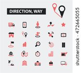 direction way icons   Shutterstock .eps vector #472665055
