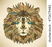 lion head. ethnic patterned... | Shutterstock .eps vector #472679482