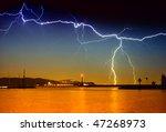 lightning above the lake   Shutterstock . vector #47268973