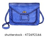 watercolor fashion blue bag.... | Shutterstock . vector #472692166